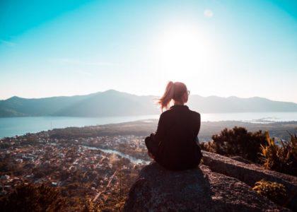 woman mountain breathing room